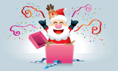 Surprising gift with a cute Santa and his reindeer inside, with various backgrounds. Vector. Illustration