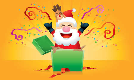 Surprising gift with a cute Santa and his reindeer inside, with various backgrounds. Vector. Illusztráció
