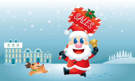 A cute Santa and his reindeer is running with a Christmas Sales promotion board carrying on his hand. Vector.