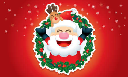 A cute Santa and his reindeer is popping out from a Christmas wreath. Vector.
