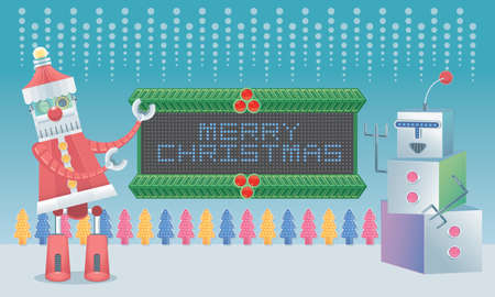 Robot Santa and robot snow man with a mechanical sign board. Illustration