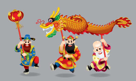 Three cute Chinese gods (represent long life, wealthy and career) are performing dragon dance. With different posts. Isolated. Illustration