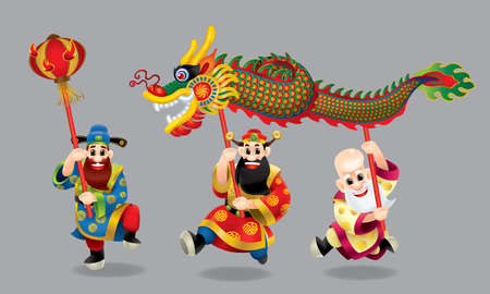 Three cute Chinese gods (represent long life, wealthy and career) are performing dragon dance. With different posts.
