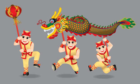 Men performing traditional Chinese dragon dance. With different posts and colors.