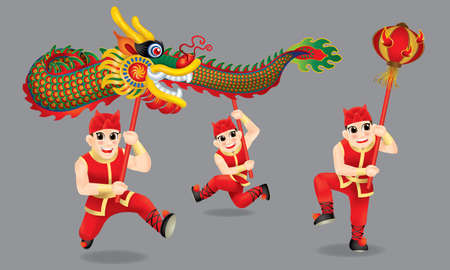 Men performing traditional Chinese dragon dance. With different posts and colors. Isolated.
