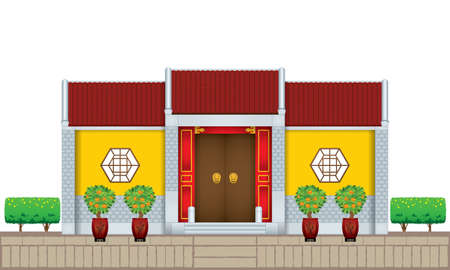 A traditional Chinese style house. Various colour with white background. Illustration