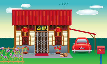 Traditional Chinese style house, often seen in Malaysia's new village. Various types and colours. Caption: the places where the owner's origin. Vecteurs