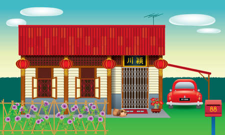 Traditional Chinese style house, often seen in Malaysia's new village. Various types and colours. Caption: the places where the owner's origin. Ilustração