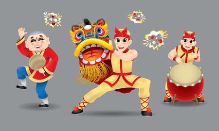 Happy men performing traditional Chinese lion dance. Isolated. With different colors.