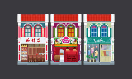 Colorful and historical colonial style double storey shophouse. Isolated. Caption: traditional herbal shop (left). 일러스트