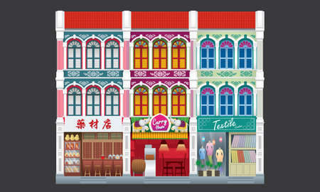 Colorful and historical colonial style three storey shophouse. Linked. Caption: traditional herbal shop (left). Çizim