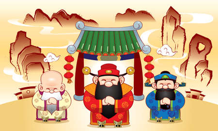 Three cute Chinese gods which represent long life, wealth and career, and a ink painting style background.