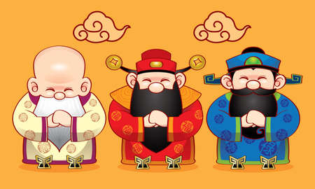Three cute Chinese gods which represent long life, wealth and career, with greeting posts.