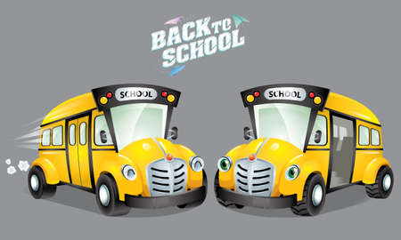 Back to school's vector. With cute cartoon school bus. Isolated background.