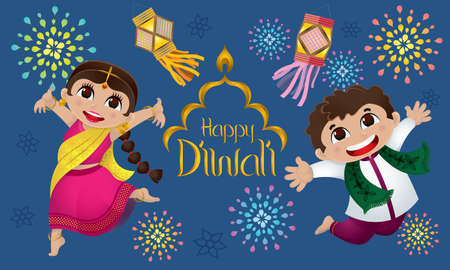 Indian boy and girl celebrating Diwali. With colorful fireworks and lanterns.