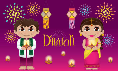 Indian boy and girl with oil lamps on their hands. With colorful fireworks and oil lamps.