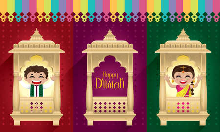 Indian boy and girl celebrating Diwali. With traditional Indian style window frame.