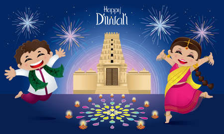 Indian boy and girl celebrating Diwali. With colorful fireworks, lanterns, oil lamps and a Hindu temple.
