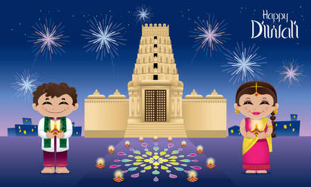Indian boy and girl with oil lamps on their hands. With colorful fireworks, lanterns, oil lamps and a Hindu temple.