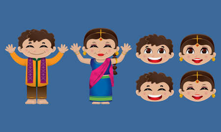 Indian boy and girl in traditional garments. With solid color background and exchangeable differ emotions faces. Vectores