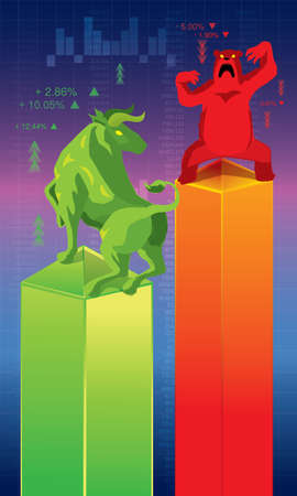 bull and bear, which represent stock market trends.