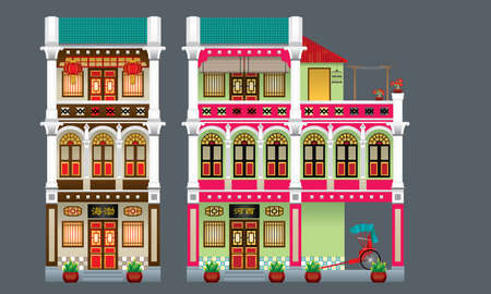 Three storey colorful and historical colonial style shop house. Isolated. Signboard's caption: the places where the owner's origin. Vectores