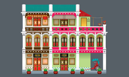 Three storey colorful and historical colonial style shop house. Linked. Signboard's caption: the places where the owner's origin. Vectores