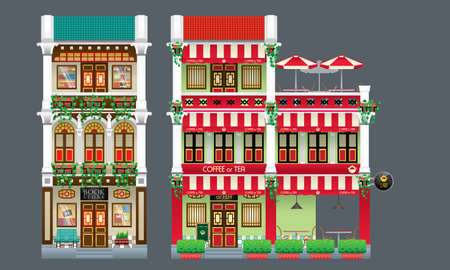 Three storey colorful and historical colonial style shop house. Isolated. Book store and coffee shop.  イラスト・ベクター素材