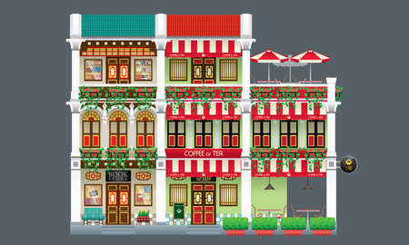 Three storey colorful and historical colonial style shop house. Linked. Book store and coffee shop. Vectores