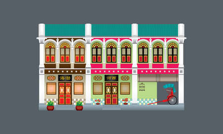 Double storey colorful and historical colonial style shop house. Linked. Signboard's caption: the places where the owner's origin.  イラスト・ベクター素材