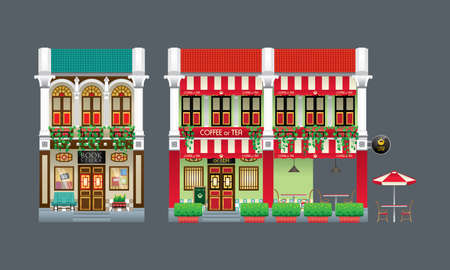 Double storey colorful and historical colonial style shop house. Isolated. Book store and coffee shop.