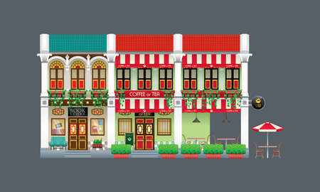 Double storey colorful and historical colonial style shop house. Linked. Book store and coffee shop. Vectores