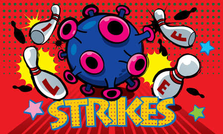 Corona Covid-19 virus impact our daily life, just like a bowling strikes all pins. Presented in pop art style.