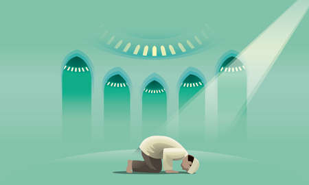 A devout Muslim praying in a holy mosque. Illustration