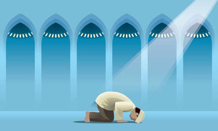A devout Muslim praying in a holy mosque. Vectores