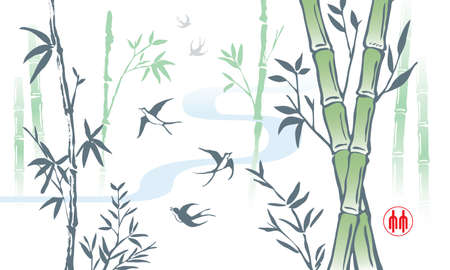 Elegant Chinese ink brush style bamboo drawing. Vector. The Chinese word stamp means bamboo.