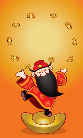 Chinese wealth god with Chinese New Year's elements background.