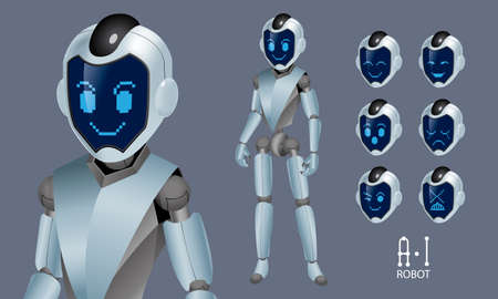 Vector of an Artificial Intelligence (A.I) robot. It comes with exchangeable expressions.
