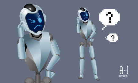 Vector of an Artificial Intelligence (A.I) robot. It shows a confusing expression. Ilustração