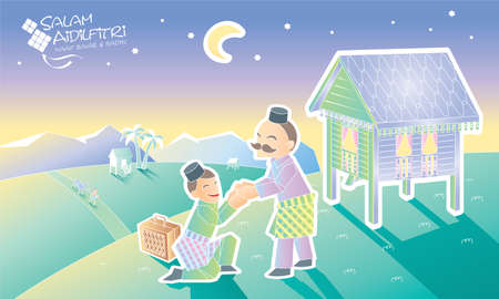 A Muslim youngster is going home to visit his father, with Malay village scene. Caption: happy Hari Raya. Vector.