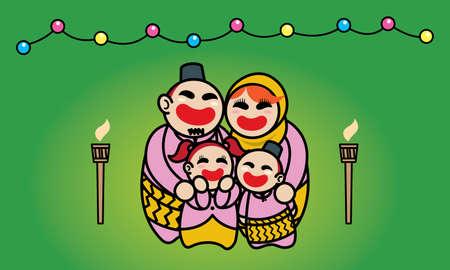 A happy Muslim family celebrating Raya festival. Background with Raya's elements. Vector. Ilustração