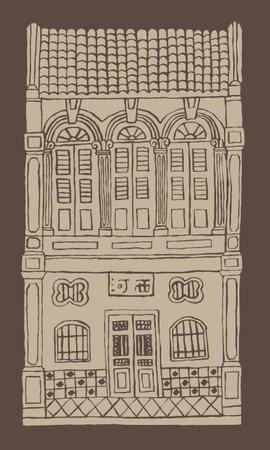 Hand drawn line's double story colonial style shop house. Monotone color. Signboard's caption: the places where the owner's origin. Ilustração