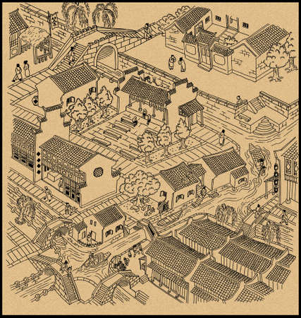 Illustration of ancient water town of China. Black outline with grain texture background. Banco de Imagens