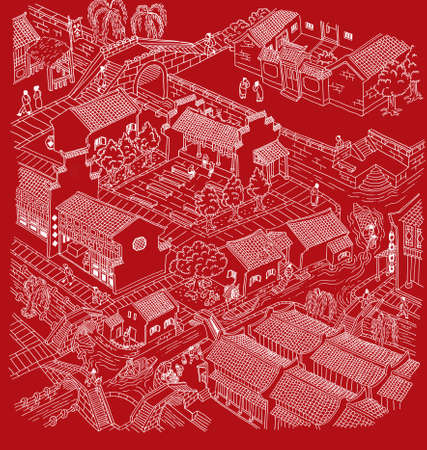 Illustration of ancient water town  of China. White outline with monotone color background.
