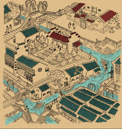 Illustration of ancient water town of China. Black outline, partially colored,  with grain texture background.