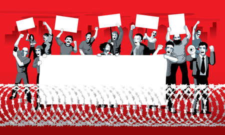 A group of city protestors surrounded by barbed wire fences. With mega phone, banner and signs.  Vector. Ilustração