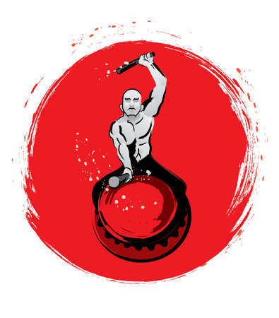 A muscular man hitting a drum. With a red sun background. Ilustração