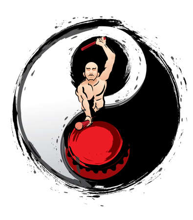 A muscular man hitting a drum. With a ink brush style Taijitu background.