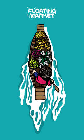Hawker selling fruits on boat in a Thailand floating market. Vector illustration, presented by using bold ink line.