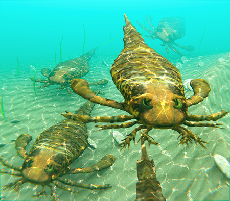 먹이를 찾아 함께 여행하는 바다 전갈으로 알려진 eurypterids의 그림. Eurypterids는 거미류와 관련이 있으며 지금까지 살았던 가장 큰 절지 동물을 포함합